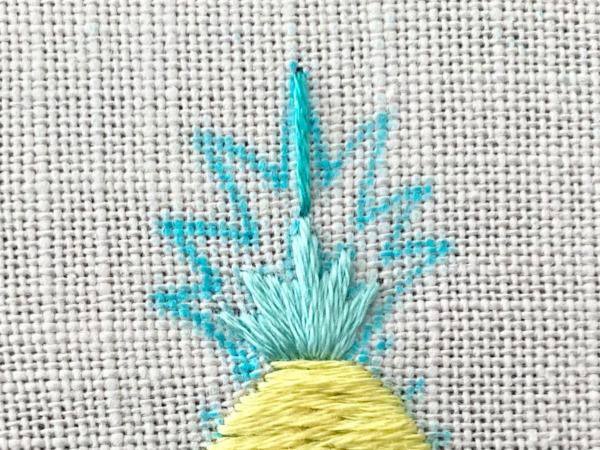 【図案つき】パイナップルの刺繍の作り方