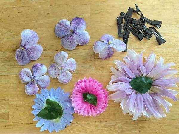 100均造花の簡単髪かざりの作り方
