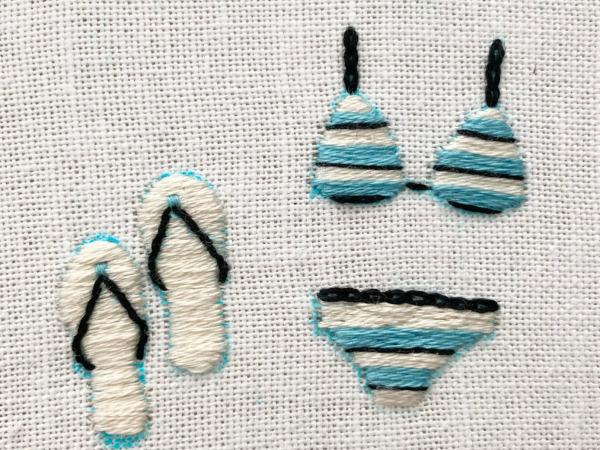 【図案つき】水着とビーチサンダルの刺繍の作り方